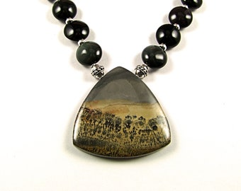 Striking Scenic Chinese Dendritic Jasper Necklace - N291