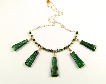 Superb Green Kyanite Gold Necklace - N464A