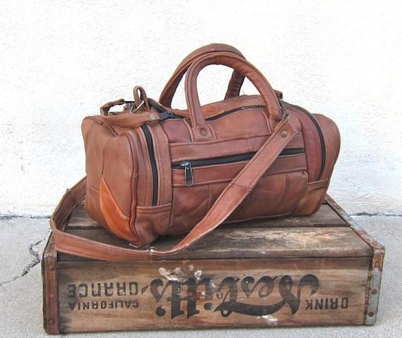 Vintag Distressed Patchwork Tan Leather Mini Duffle Purse