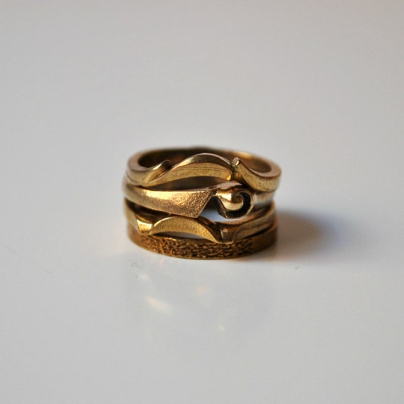 Vintage Stacked Ring Set in Bronze Shapes &Textures