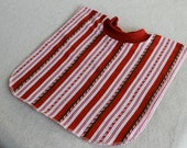Large Pull Over Bib - Red Candy Cane Stripes