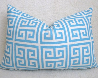 SALE - Designer Decorative Greek Key Pillow Cover - Squares - Turquoise - Ivory - 12x18 inch - Lumbar - Decorative Pillow - Throw