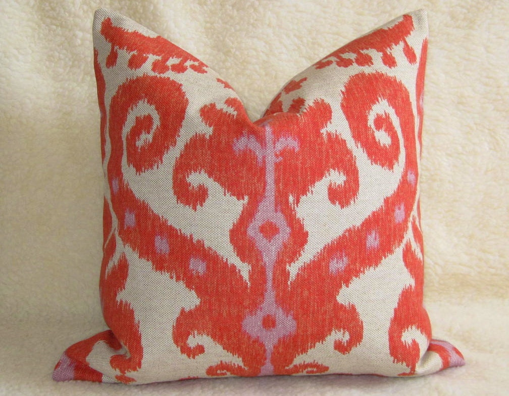 Ikat Throw Pillows Etsy : Pair of 2 Ikat Designer Pillow Covers Linen by WillaSkyeHome