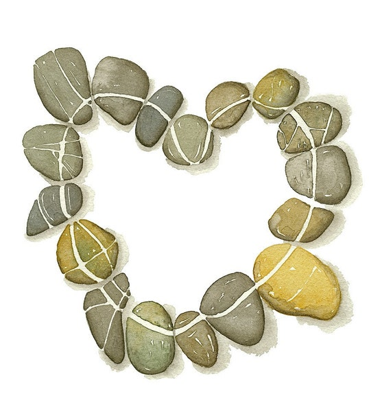 Watercolor Pebbles Heart No.7 - Fine Art Print - Limited edition by Lorisworld