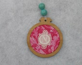 Monogram Christmas ornament gift, with vintage embroidery, wood, fabric, beads, gift for her, N, any letter available