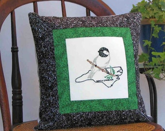 North Carolina bird pillow, cabin, cottage, farmhouse decor with vintage hand-embroidery -- a keepsake gift. Includes pillow form.