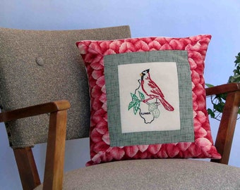 Illinois bird pillow, cabin, cottage, farmhouse decor from vintage hand-embroidered quilt block--a keepsake gift. Includes pillow form.