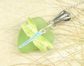 Dragonfly Necklace GENUINE Sea Foam Sea Glass Jewelry