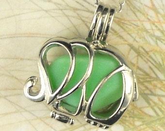 Elephant Locket, Elephant Necklace, Elephant Jewelry, Emerald Green Milk Glass, Sea Glass Jewelry, Good Luck Necklace, Gift for New Mom