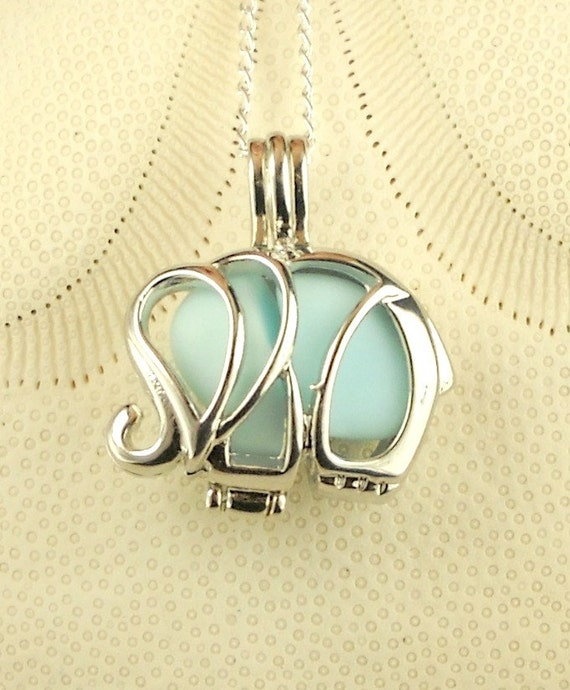 Sea Glass Necklace Elephant Locket Baby Blue Milk Glass