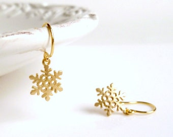 Little Snowflake Earrings - gold plated small flakes with intricate detail on simple gold ear hooks - Cold Winter Weather