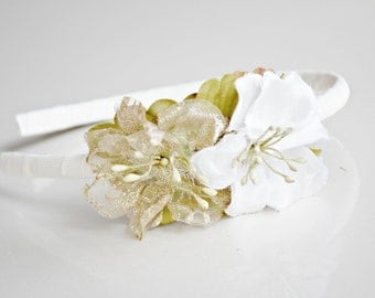 glitter gold and ivory flower headband for new years eve, women, bridal, women: joy