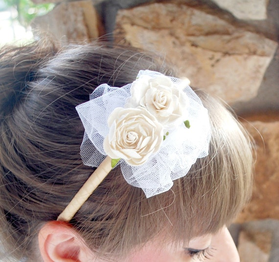 tulle and cream roses flower headband for bridal and women, madeline