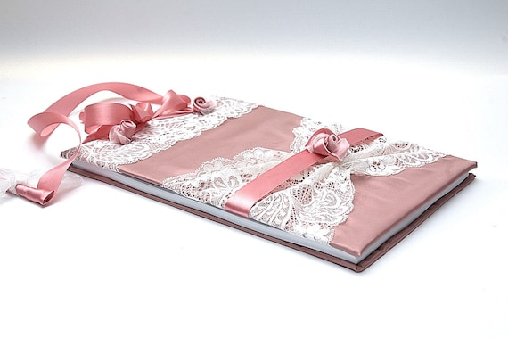 Wedding Guest Book - Shabby Chic Pink -  Romantic, Elegant Weddings