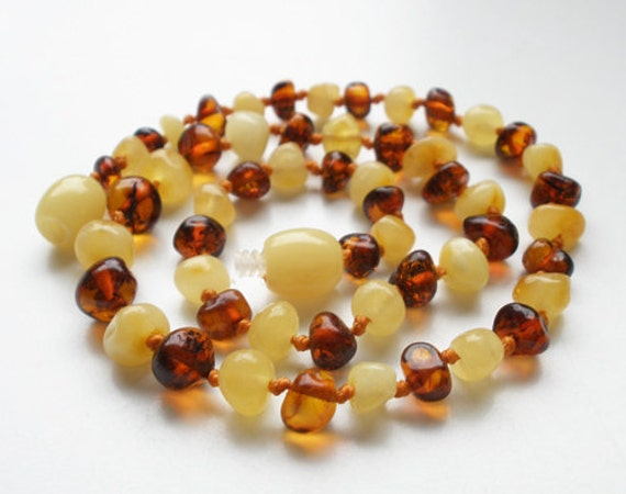 """12.6""""  Natural Baltic Amber butter & cognac color teething necklace / child healing necklace - max healing effect"""