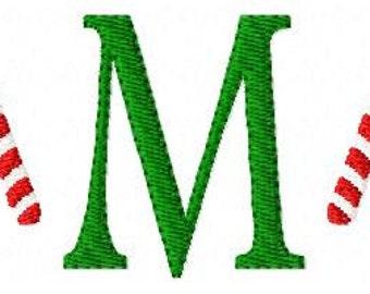 Candy Cane Mini Monogram Machine Embroidery Design Font Set  Joyful Stitches // Joyful Stitches