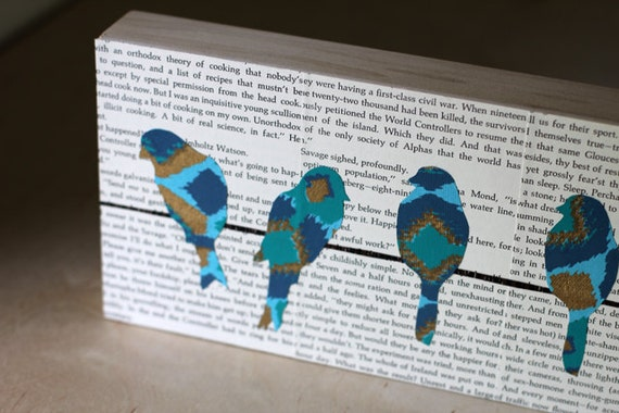 """Teal and Gold Ikat Birds on a Wire Over A Vintage Book Page Background, 6"""" x 24"""", Bird on a Wire Art Over Vintage Text, Bird Nursery Art"""
