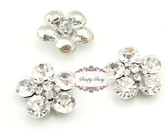10 pcs RD87 Clear Rhinestone Glass Metal Flat Back Embellishment Buttons Wedding Bridal DIY Brooches Hair Pins