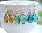 Blue Green Yellow Earrings Sea ocean blue Aqua gold, bridesmaids gifts, bridal jewelry, perfect gift Dangle Sets of