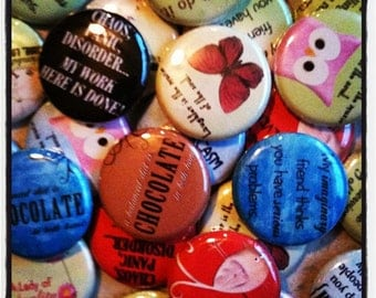 "Quotes and Things Buttons - Set of 20 -  Pin Back, Flat Back, or Hollow Back Buttons - Party Favors and DIY Crafts - 1"" Buttons - One Inch"