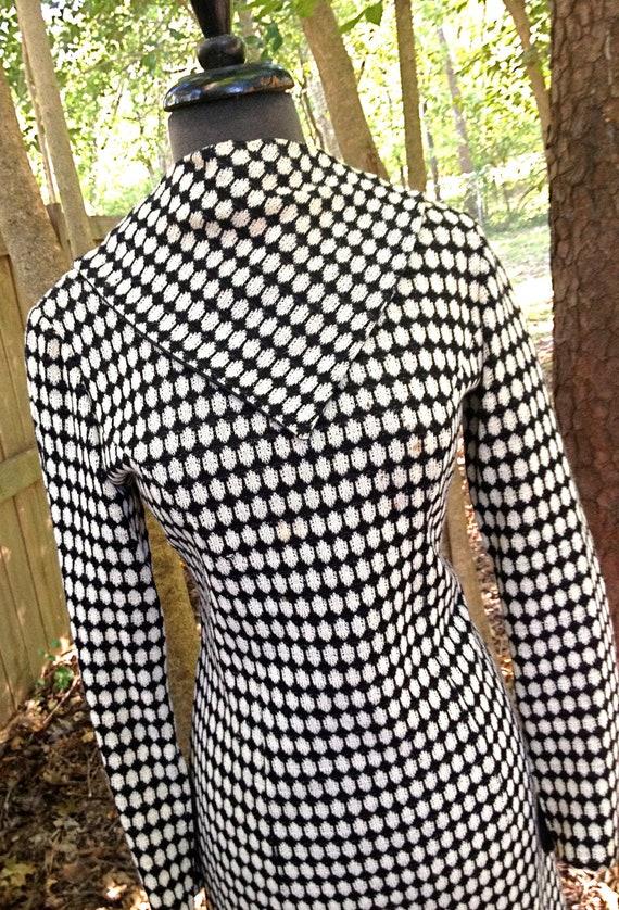RESERVED for shawnie48 / 1960s mod dress - black and white polka dot wool dress w/ asymmetrical collar