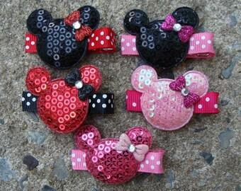 2 Minnie Mouse Birthday Favor hair clips Minnie Mouse Hair Clip wholesale