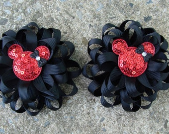 Minnie Mouse Hair Bows Loopy Hair Bows pigtails Hair Bow Black and Red hair bows set