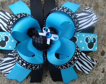 Minnie Mouse Hair Bow-Large Hair bow - Turquoise Black and zebra Minnie Mouse Hair Bow