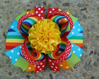 Large Boutique Rainbow Hair Bow Loopy Flower Hair Bow Stacked hair bow