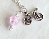 Pink Crystal Ball Country Style Bike Silver Necklace