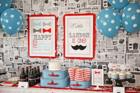 bow tie mustache bash printable collection birthday party or baby