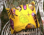 Queensland shells tea towel cushion.  Upcycled, recycled, repurposed and eco-friendly.