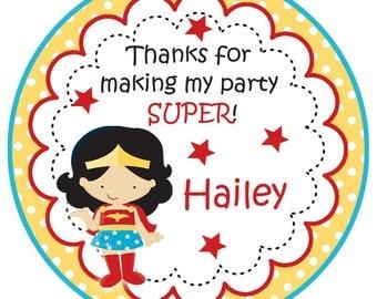 girl superhero birthday stickers - supergirl stickers -  girl superhero birthday party -- birthday stickers