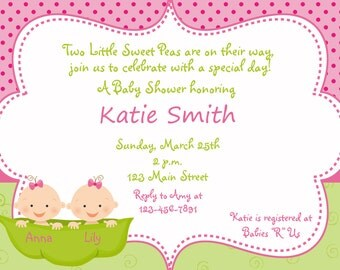 Twins baby shower - Pea in a pod Baby shower invitation -  sweet pea pink and green baby girl shower invitation --  you print or I print