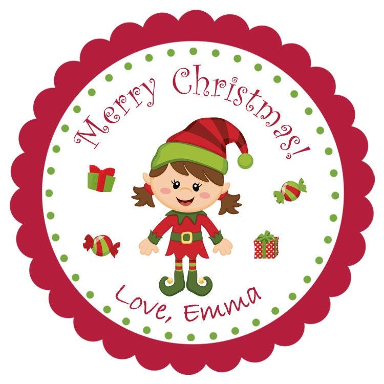 Christmas Elf sticker Christmas birthday Kids Christmas |Christmas Elf Tag