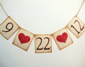 Rustic Wedding Date Banner Garland Decoration Save the Date Photo Prop