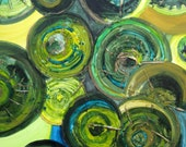 "GREEN CIRCLES painting ORIGINAL abstract 20""x20"" green yellow bronze textured painting by devikasart on Etsy"