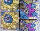 TILE COASTERS PAISLEY design, purple blue ochre, handmade with original artwork-set of 4