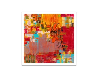 "ABSTRACT fine art PRINT 18""x18"" large- orange red yellow modern art"