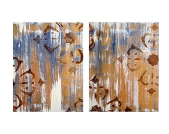 "ABSTRACT painting ORIGINAL 10""x16""- two panels gold purple brown"