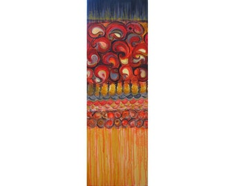 "PAISLEY painting- ORIGINAL abstract 12""x36"" textured painting red ochre black"