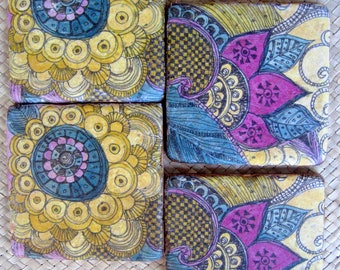 TILE COASTERS PAISLEY design, purple blue ochre, handmade with original artwork-set of 4