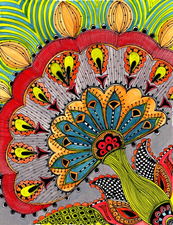 FLOWER Fine Art print- red blue green gray ink and acrylic painting