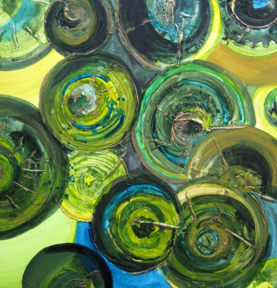 """GREEN CIRCLES painting ORIGINAL abstract 20""""x20"""" green yellow bronze textured painting by devikasart on Etsy"""