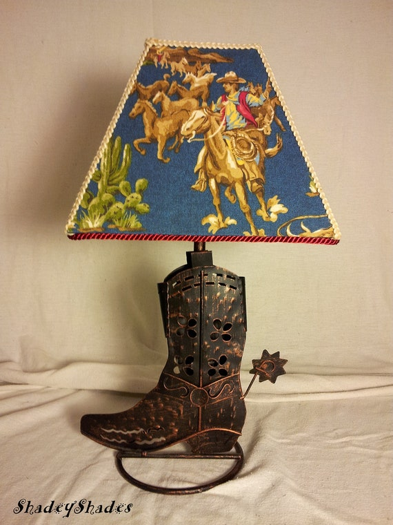 Cowboy Boot Lamp Amp Cowboy Fabric Shade In Blue
