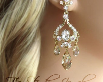Gold Bridal Chandelier Earrings with Crystals or Pearls Wedding Jewelry - JASMINE