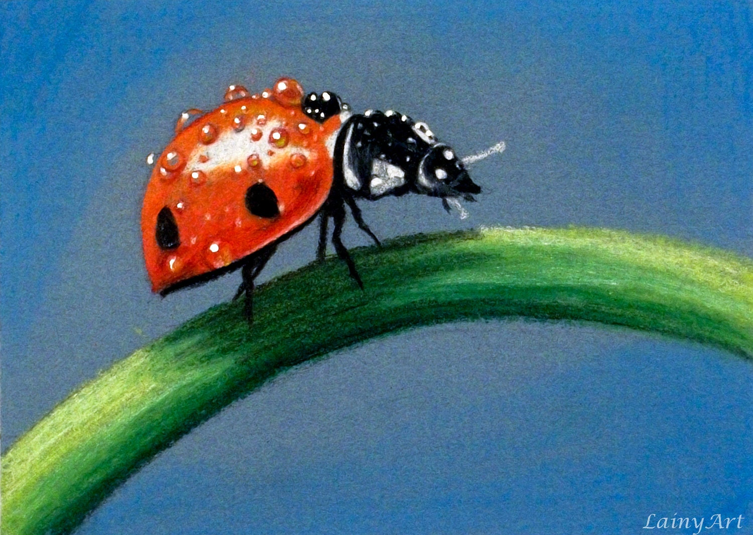Lady Bug Matted 8x10 Watercolor Print Pastel Drawing