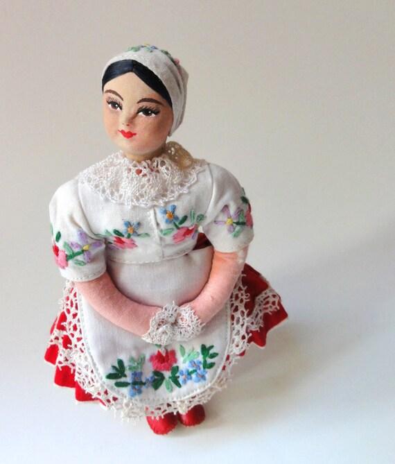 Vintage Folk Art Costume Girl Doll Czechoslovakia
