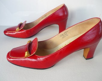 70's Red Leather High Heel Loafers Designs by Evins Size 6.5B