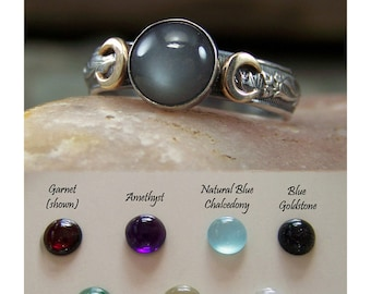 Triple Moon with 14k Cresent Moons - Choose your 8mm Stone - Set in Sterling Silver - 10 stone choices